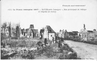 Dives-rue-principale-du-village-et-eglise-en-ruines-fin-1917